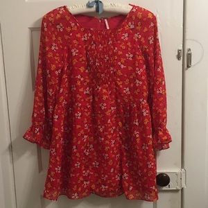 Free People red and yellow floral blouse size 6
